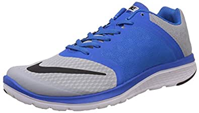 Nike Men's Fs Lite Run 3 Wolf Grey, Blue, White and BlackRunning Shoes -9 UK/India (44 EU)(10 US)