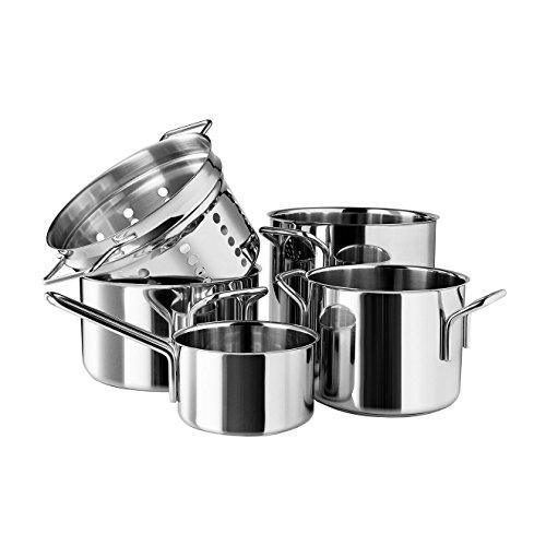 Eva Trio - Stainless Steel Topfset Pasta (5-TLG.) Stielkasserolle 1.1 l/Kochtopf 2.2 l/Kochtopf 3.6 l/Kochtopf 4.8 l/Pasta Sieb Eva Trio