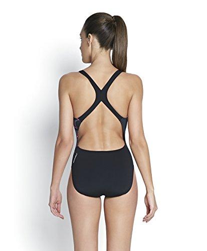 Speedo–Costume intero da donna, schiena Stampa 20, donna, Placement Power Back Print 20, Black/USA Charcoal/Ecstatic, 6 Black/USA Charcoal/Ecstatic