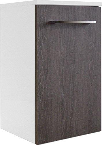 Fackelmann Unterschrank RONDO / Schrank zum Aufhängen / Badmöbel / Maße (BxHxT): ca. 35,5 x 59 x 32 cm / Korpus Farbe Weiß Hochglanz / Front Farbe dunkles Braun / Breite 35,5 cm / Schrank fürs Bad