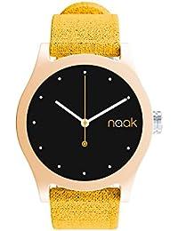 Brown Mustard - Reloj unisex con correa de lona intercambiable.