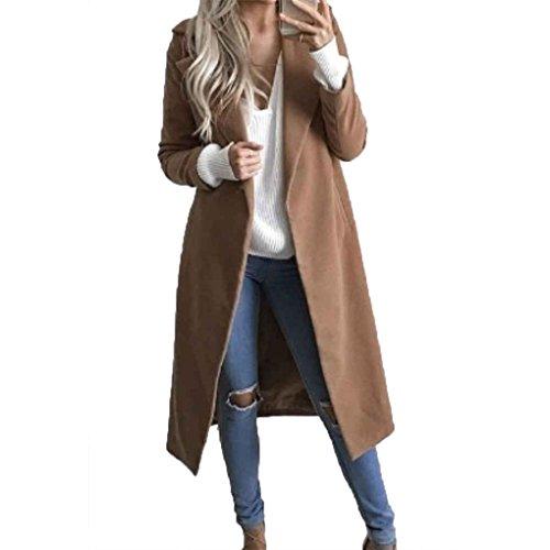 Babysbreath Frauen-Langer Mantel drehen unten Kragen-Taschen-Langer Hülsen-Wolle-beiläufiger dünner Sitz-Mantel-Outwear-Wolljacke-Überzieher Khaki S (Junior Trenchcoat)