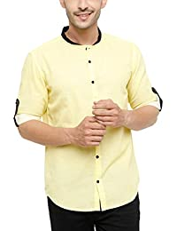 SHOWOFF Men's Lenin Full Sleeve Slim Fit Solid Casual Shirt (DecorDesing2095_Yellow)