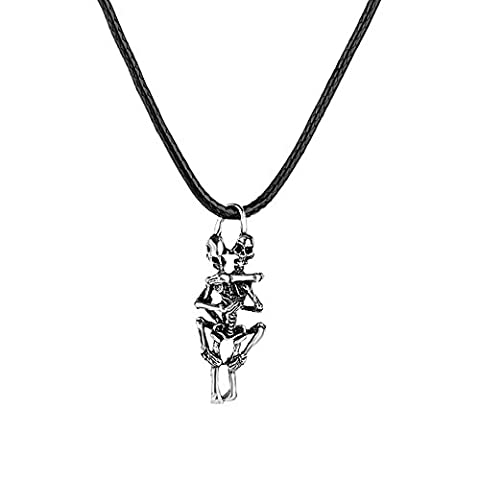 BODYA Jewelry Mens Gothic Skull Stainless Steel Pendant Necklace, Silver
