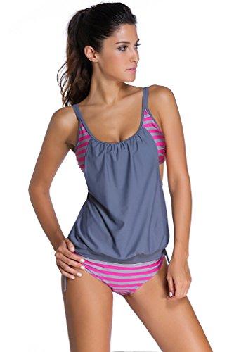 Preisvergleich Produktbild Loveours Damen Mädchen Tankini Zweiteilige Bikini Set Grau (L)