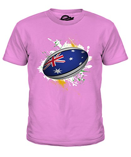 Candymix Österreich Rugby Ball Unisex Jungen Mädchen T Shirt, Größe 4 Jahre, Farbe Rosa
