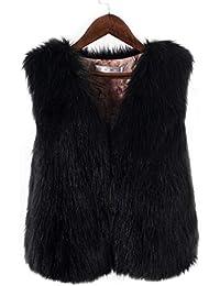 Mujer y Niña Abajo chaqueta Invierno fashion carnaval,Sonnena ❤️ Chaleco de piel sintética sin mangas para mujer Abrigo Suelto de Collor Sólido de Invierno