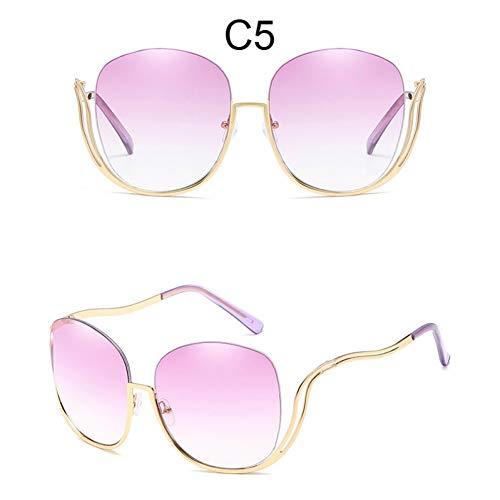 CCGKWW Randlose Sonnenbrille Mit Farbverlauf Frauen Luxusmarke Designer Übergroße Quadratische Sonnenbrille Damen Klare Brillen Weibliche Schattierungen