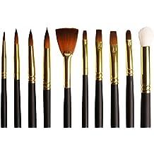Set 10 pennelli per artisti su misura dorati in Taklon assortiti per pittura ad acquerello, acrilici e a olio - Setole morbide di qualità in un'elegante custodia con