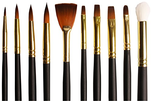 artists-brush-set-of-10-bespoke-gold-taklon-assorted-paint-brushes-for-watercolour-acrylics-oil-prem
