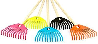 Kinderrechen Gartenrechen Rechen Kunststoff mit Holzstiel 5 Farben 79 cm