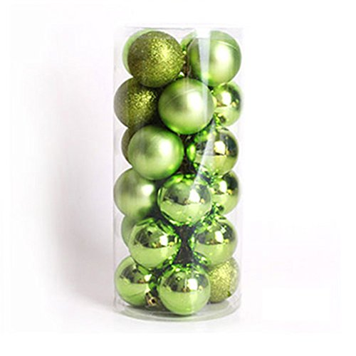 Leisial™ 24 Stücke Grün Weihnachtskugel Weihnachten Deko Anhänger Christbaumschmuck Weihnachten Anhänger 4CM
