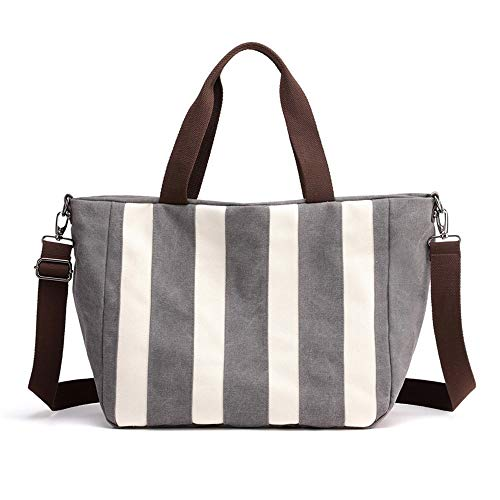 Gestreifte Leinwand Umhängetasche Mode Rucksack for Frauen Große Kapazität Umhängetasche Rucksack Leichte Freizeit Reisetasche Multifunktionale Handtasche (Color : Gray) - Gestreifte Leinwand