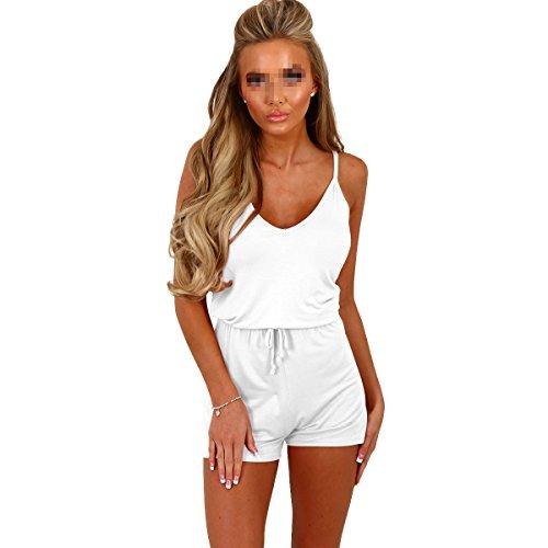 Preisvergleich Produktbild Fletion Damen V-Ausschnitt Sexy Kurzer Overall,Weiß,L