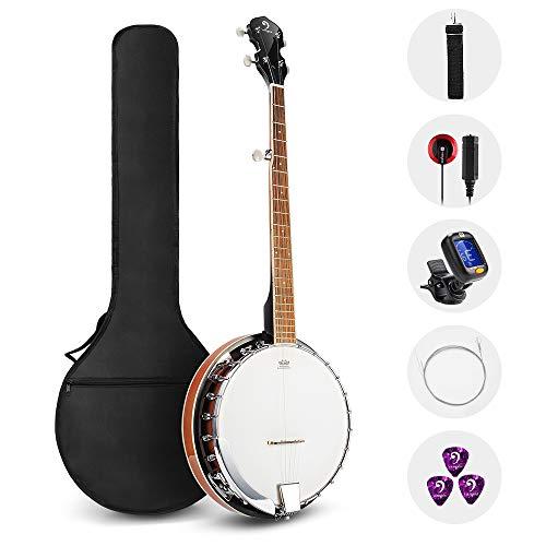 Vangoa 5 Saiten Banjo Remo Kopf geschlossen Solid Back mit Anfänger Kit, Stimmgerät, Strap, Pick-up, Saiten, Picks und Tasche
