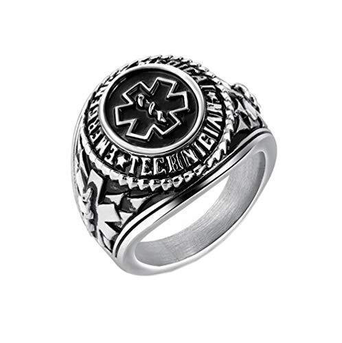 PAMTIER Herren Edelstahl Herrschsüchtig Medizinisch Symbol Ring Silber Größe 65