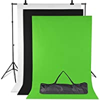 Amzdeal Fonds Studio Photo 3m*2m Support Système, 3pcs 2m×1.6m Fonds Vert/Blanc / Noir Trépied Réglable de 65cm à 200cm Backdrops pour Photographie Portrait Objet Enregistrement Vidéo