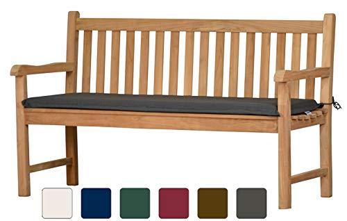 Bankauflage aus lichtechtem Dralon – 140 x 47cm, anthrazit grau  Waschbar  Hoher Sitzkomfort  Öko-Tex 100 | Polsterauflage, Gartenauflage für Bänke | Sitzpolster, Sitz-Kissen für...