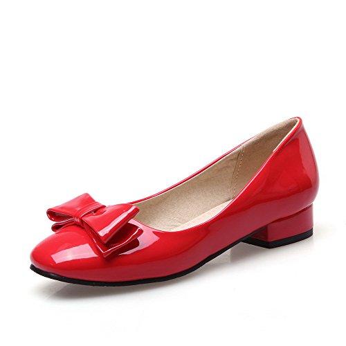 VogueZone009 Femme Tire Verni Carré à Talon Bas Chaussures Légeres Rouge