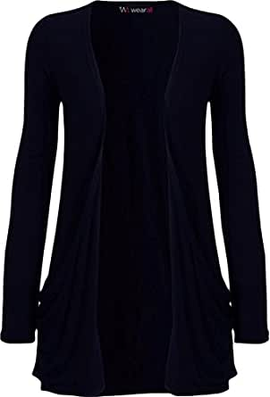"WearAll - ""pocket"" cardigan à manches longues - Hauts - Femme - Bleu marine - 36-38"