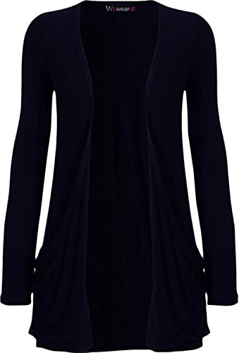 WearAll - Ladies Long Sleeve Pocket Cardigan Womens Top - Navy Blue - 12 / 14