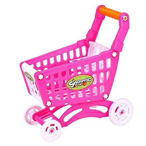 Gehirn Spiel Kinder Spielzeug Hand Push Kunststoff Simulation Mini Supermarkt Warenkorb Baby Spaß Kleinkind Kinderwagen (Pink) DIY ( Farbe : Rosa ) (Spiele Gehirn Kinder)