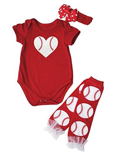Hot Red Baseball Print One Piece Bodysuit Leg Warmer Baby Set Nb-24m (6-12 Months) Baseball-print Bodysuit