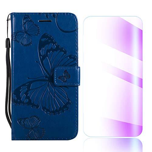 Preisvergleich Produktbild The Grafu Galaxy J4 2018 Hülle,  PU Leder Hülle mit Frei Hartglas Displayschutz,  Schmetterling Muster [Standfunktion] [Kartenfach] Schutzhülle für Samsung Galaxy J4 2018,  Blau