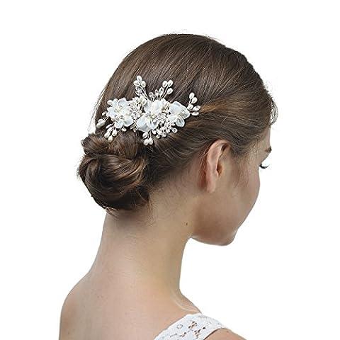 Remedios Handmade Vintage Pearl Crystal Wedding Hair Clip Headpieces Barrette
