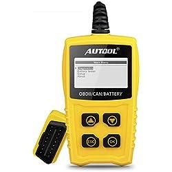 Moteur Lecteur Code Defaut Voiture OBD2 OBDII, AUTOOL Diagnostic Scanner Auto Automatique avec Testeur de Batterie pour OBD2 / EOBD / CAN Voiture / Suv / Van