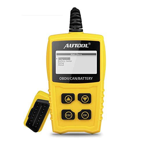 OBD2 OBDII Diagnostica Scanner Auto 12V, AUTOOL Diagnostico Strumento per Motore Auto con Tester Batteria Lettore Codice per SUV VAN Diesel Olio