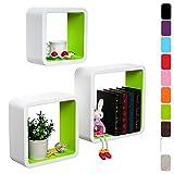 WOLTU RG9236gn Wandregal Cubes, MDF Holz, Hängeregal Bücherregal, CD/DVD Aufbewahrung, Regal, Grün