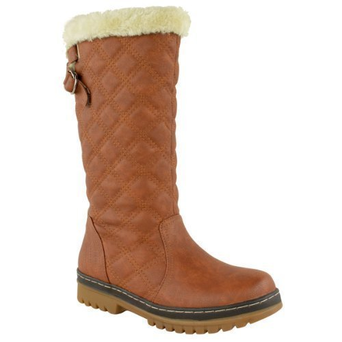 WOMENS LADIES FLAT KNEE HIGH CALF WINTER SNOW FUR LINED ANKLE BOOTS...