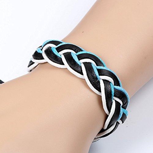 Flongo Bracelet Leather Cuir Cordon Corde Punk Tresse Multicouche Reglable Bijoux Cadeau Fantaisie Couleur Noir Brun Bleu pour Femme Homme Bleu