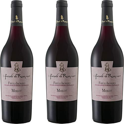 Merlot Doc | Friuli Isonzo | Vino Rosso del Friuli | I Feudi di Romans | 3 Bottiglie 75 Cl | Idea Regalo