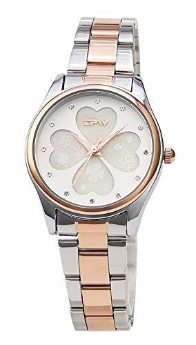 PLKNVT Neue hochwertige Vier Kleeblatt Frauen Uhr Edelstahl BandRose GoldUhren Damenmode Uhr top-MarkeRose Gold Zwei ton (Frauen Für Zwei-ton-uhren)