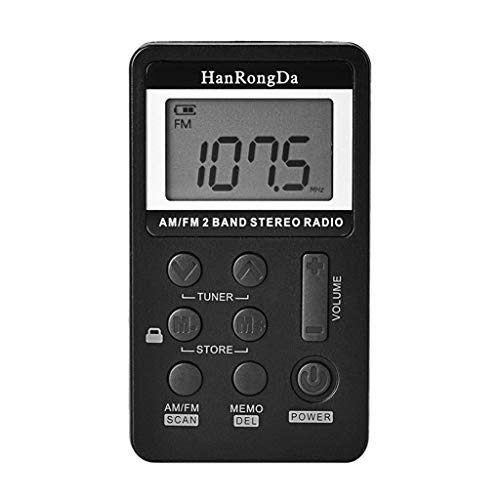 PIAOLING Tragbares Radio Mini-FM/AM-Zwei-Band-Radio Portable Dual-Purpose-FM-Mittelwellen-Lithium-Batterie-Netzteil Einfach zu bedienen (Color : Black)