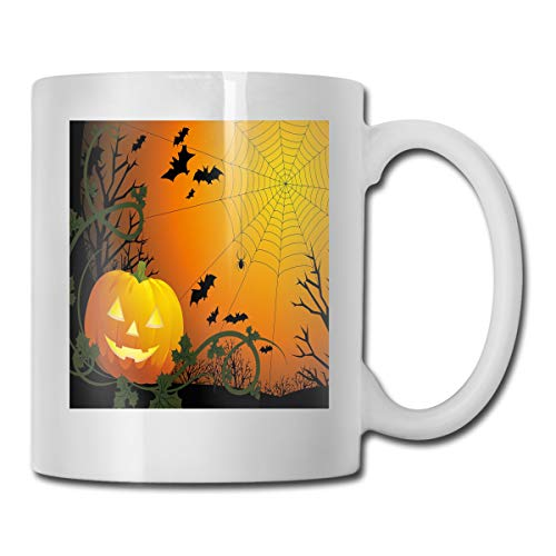Jolly2T Funny Ceramic Novelty Coffee Mug 11oz,Halloween Themed Composition with Pumpkin Leaves Trees Web and Bats,Unisex Who Tea Mugs Coffee Cups,Suitable for Office and Home