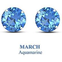 Geburtsstein Ohrstecker Ohrring Kollektion: Weiß Vergoldet März Aquamarin 2ct Edelstein aus Lilu Jewels