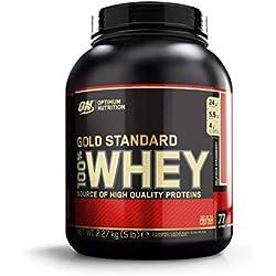 Optimum Nutrition Gold Standard 100% Whey Protéine en Poudre avec Whey Isolate, Proteines Musculation Prise de Masse, Fraise, 77 portions, 2.27 kg