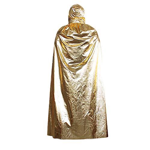Tagether Damen Schal Halloween Shawl Mantel Cloak Neue Kapuzen Mantel Mantel Wicca Robe Mittelalterliche Cape Schal Halloween Party Umhang (Gold)