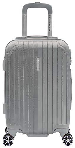 Tamaris Style Kleiner Hartschalen Koffer, 4 Rollen Reisekoffer für Damen/Herren mit TSA-Zahlenschloss, 54x36x23-35L, Silber