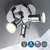 B.K.Licht Modern LED 3W, 3 head Bathroom Ceiling Spotlight, IP44 splash water proof, round with swivel mounted design