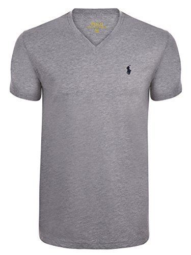 Ralph Lauren Herren T-Shirt V-Neck Custom Fit Grau XL (Ralph Lauren Pferd)