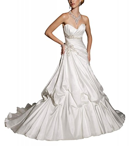 GEORGE BRIDE Schatz Pick-up Ballkleid Satin Gericht Zug Brautkleider Hochzeitskleider ,Groesse 48,Weiss (Ballkleid Pickup)