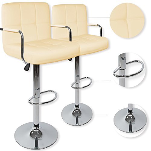 Kesser® 2er Set Barhocker Barstuhl Tresenhocker Küchenhocker Loungesessel Esszimmerstuhl mit Lehne, Farbe:Creme