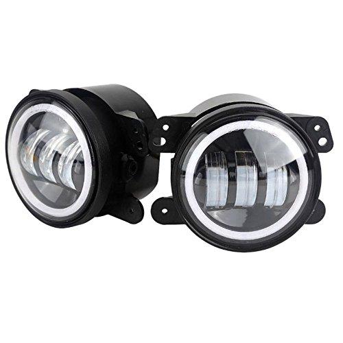 0LM LED Nebelscheinwerfer Lampen 2 stücke Kit mit Halo Weiß DRL + Bernstein Blinker Schwarz ()
