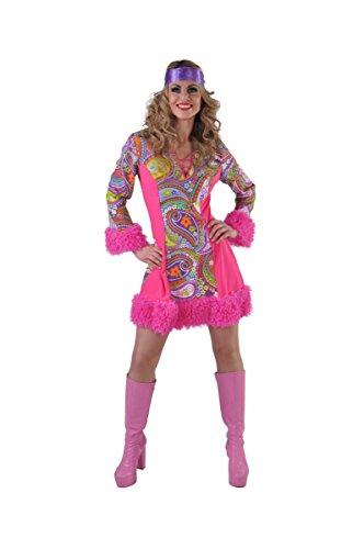 op 70er Jahre Flower Kleid mit Plüsch Retro Hippiekleid XS bis XXL (XX-Large) ()