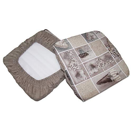Russo tessuti 6 cuscini sedie cucina coprisedia imbottiti elastico cuore allungato beige