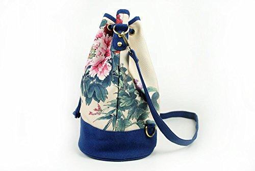 Lantra Besa Canvas Tasche Schultertasche Umhängetasche Rucksack für Damen und Mädchen BY0001 - R13 Mehrfarbig Blumen Muster R02